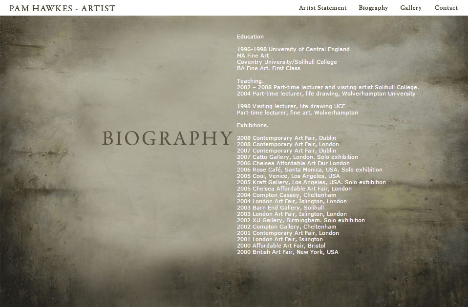PAM HAWKES - BIOGRAPHY