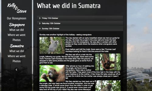 HONEYMOON WEBSITE - WHAT WE DID IN SUMATRA