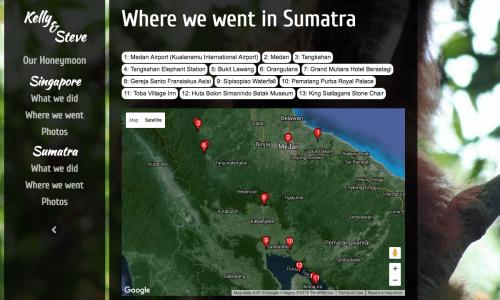 HONEYMOON WEBSITE - WHERE WE WENT IN SUMATRA